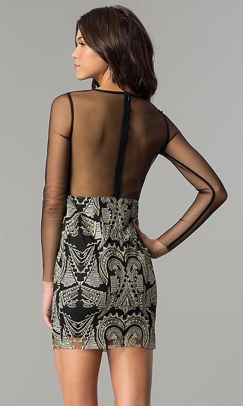Image of short black party dress with gold embroidered print. Style: LT-LD6734S Back Image