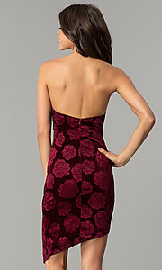 Image of short floral-print burgundy red velvet party dress. Style: LT-LD6933Z Back Image