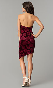 Image of short floral-print burgundy red velvet party dress. Style: LT-LD6933Z Detail Image 3