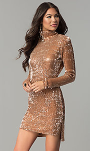Rose Gold Sequin Long-Sleeve Party Dress