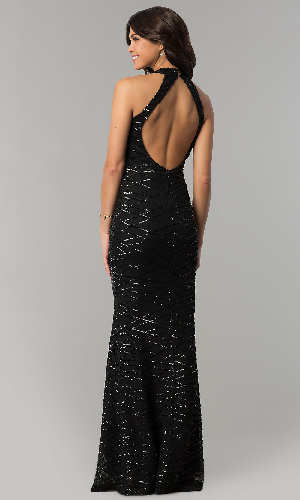 Cut Out Black Sequin Long Formal Dress Promgirl
