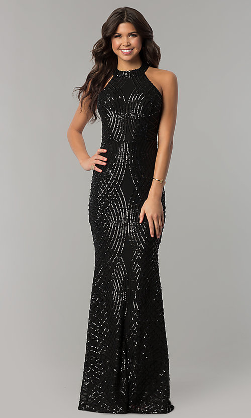Image of long black sequin formal dress with back cut out. Style: LT-LD6870P Front Image
