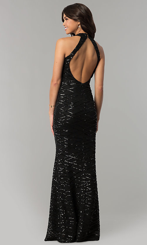 Image of long black sequin formal dress with back cut out. Style: LT-LD6870P Back Image