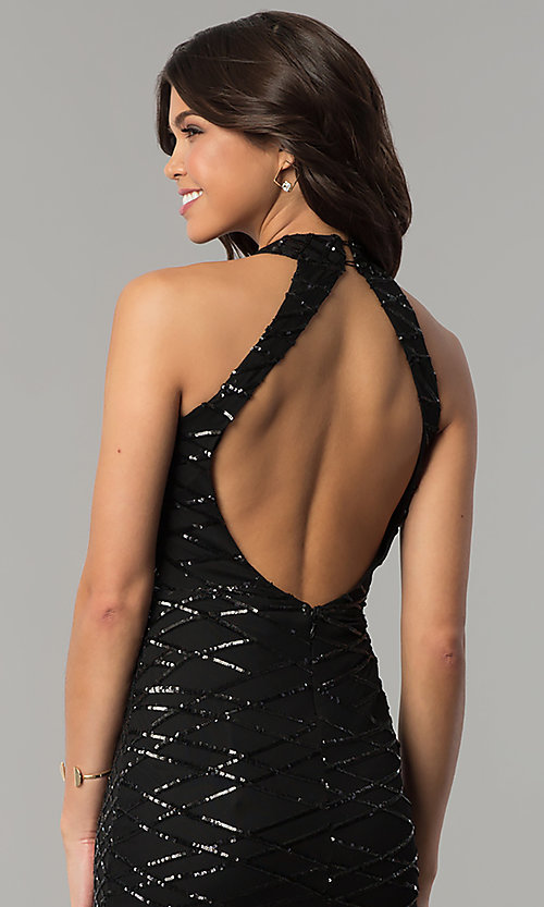 Image of long black sequin formal dress with back cut out. Style: LT-LD6870P Detail Image 2
