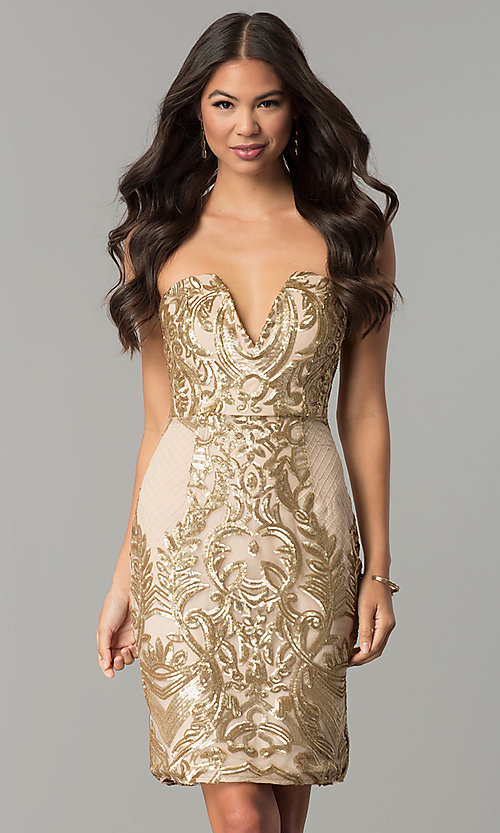 a864e4e8c68 Gold Strapless Short Sequin-Embellished Party Dress