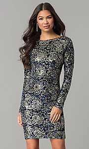 Image of short velvet party dress with sequins and sleeves. Style: LT-LD6836Z Front Image
