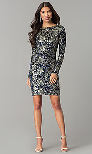 Image of short velvet party dress with sequins and sleeves. Style: LT-LD6836Z Detail Image 2