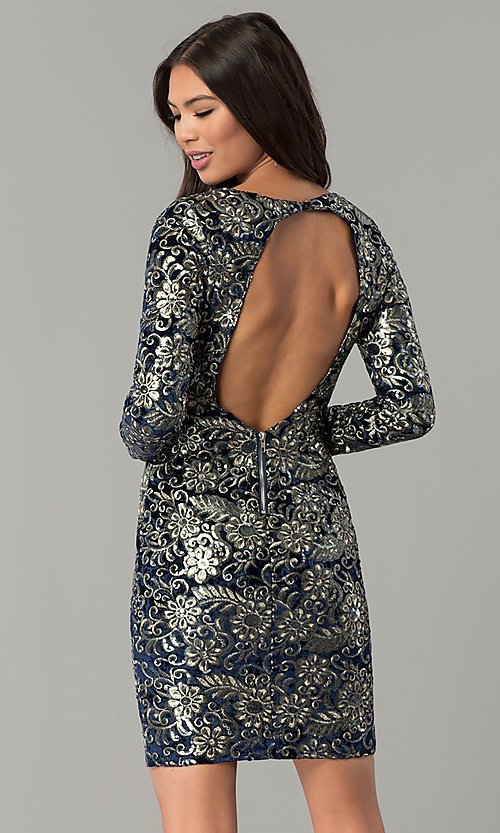 Image of short velvet party dress with sequins and sleeves. Style: LT-LD6836Z Back Image