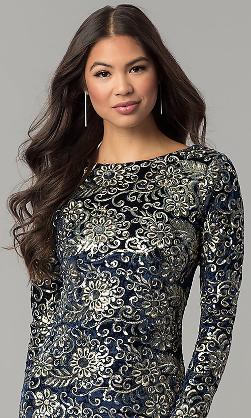 Image of short velvet party dress with sequins and sleeves. Style: LT-LD6836Z Detail Image 1