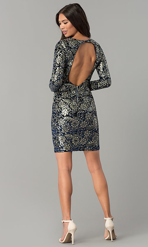 Image of short velvet party dress with sequins and sleeves. Style: LT-LD6836Z Detail Image 3