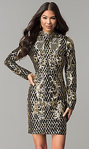 Long-Sleeve Short Sequin Mock-Neck Holiday Dress