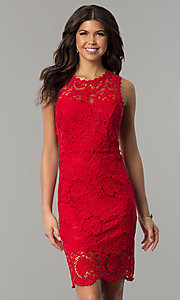 Image of red lace short holiday party dress with back cut out. Style: JTM-JMD6639-R Front Image