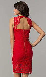 Image of red lace short holiday party dress with back cut out. Style: JTM-JMD6639-R Back Image