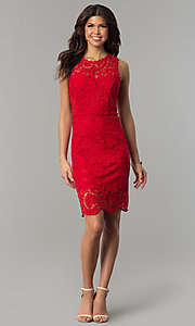Image of red lace short holiday party dress with back cut out. Style: JTM-JMD6639-R Detail Image 2
