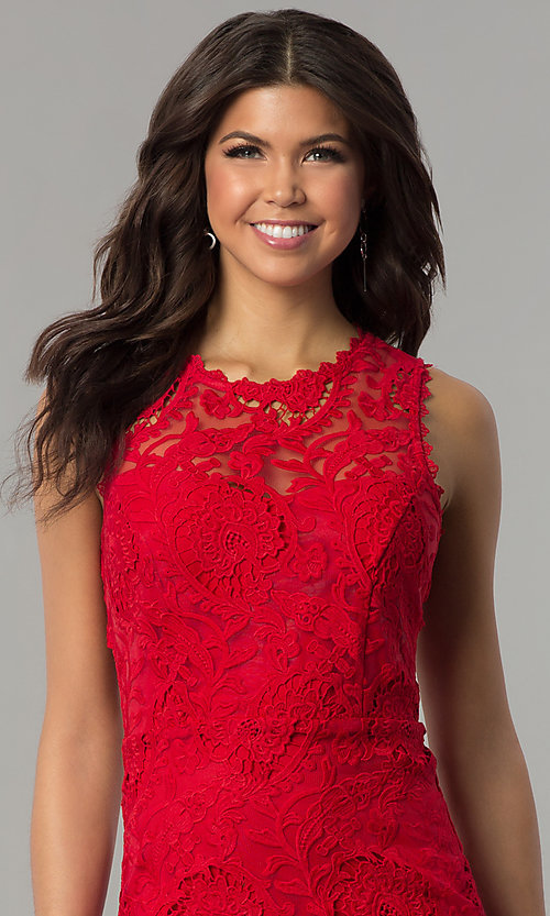 Image of red lace short holiday party dress with back cut out. Style: JTM-JMD6639-R Detail Image 1