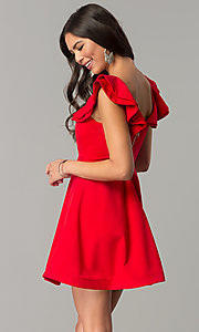 Image of short v-neck a-line wedding-guest party dress. Style: LUX-LD4195 Back Image