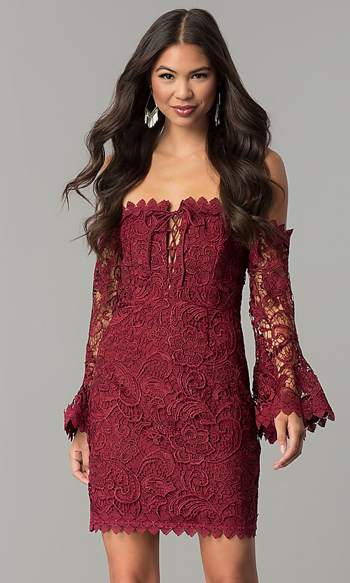 Image of off-the-shoulder lace party dress with bell sleeves. Style  8f02bbee4