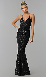 Image of v-neck long sequin prom dress with adjustable straps. Style: LUX-LD4248 Detail Image 1