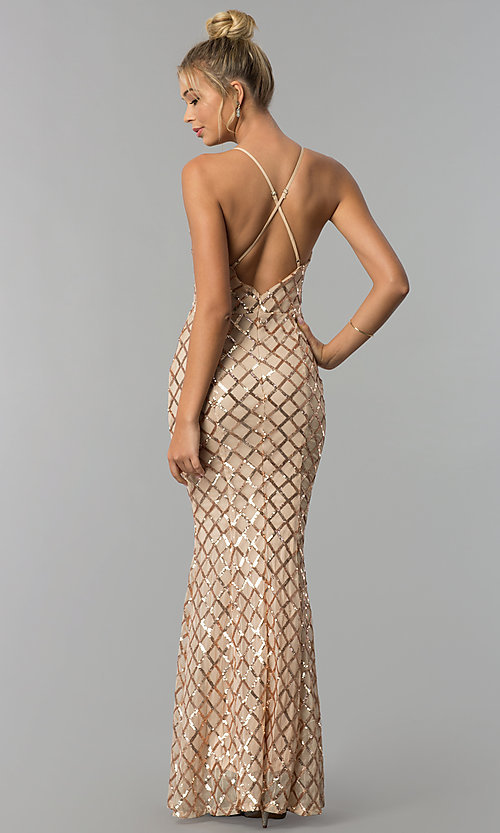 Image of v-neck long sequin prom dress with adjustable straps. Style: LUX-LD4248 Back Image