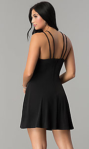 Image of short black multi-strap cocktail party dress. Style: CT-8415AQ3BT3 Back Image