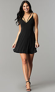 Image of short black multi-strap cocktail party dress. Style: CT-8415AQ3BT3 Detail Image 2