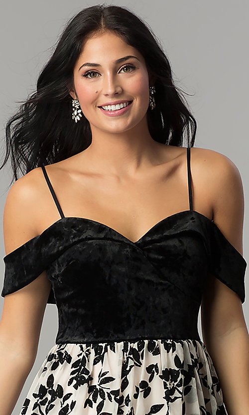Image of short velvet-bodice off-the-shoulder party dress. Style: CT-8018CG6AT3 Detail Image 1
