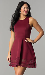 Image of short merlot red party dress with lace hemline. Style: CT-7426LH9BT1 Front Image
