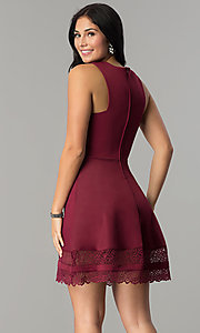 Image of short merlot red party dress with lace hemline. Style: CT-7426LH9BT1 Back Image