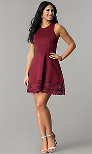 Image of short merlot red party dress with lace hemline. Style: CT-7426LH9BT1 Detail Image 1