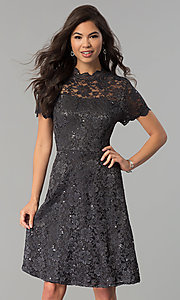 Image of short lace wedding-guest party dress with sequins. Style: JU-ON-649781 Detail Image 2