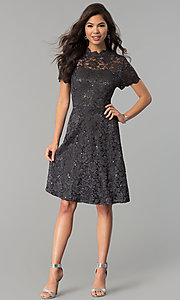 Image of short lace wedding-guest party dress with sequins. Style: JU-ON-649781 Detail Image 3