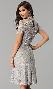 Image of short lace wedding-guest party dress with sequins. Style: JU-ON-649781 Back Image