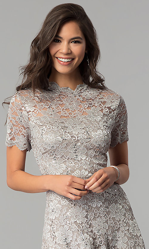 Image of short lace wedding-guest party dress with sequins. Style: JU-ON-649781 Detail Image 1