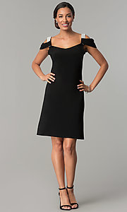Image of short cold-shoulder party dress with rhinestones. Style: JU-ON-649897 Detail Image 2