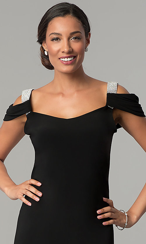 Image of short cold-shoulder party dress with rhinestones. Style: JU-ON-649897 Detail Image 1