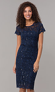 Image of short-sleeve lace knee-length wedding-guest dress. Style: JU-ON-649779 Detail Image 4