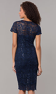 Image of short-sleeve lace knee-length wedding-guest dress. Style: JU-ON-649779 Detail Image 3