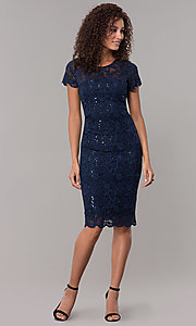 Image of short-sleeve lace knee-length wedding-guest dress. Style: JU-ON-649779 Detail Image 7