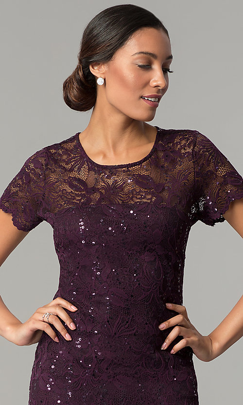 Image of short-sleeve lace knee-length wedding-guest dress. Style: JU-ON-649779 Detail Image 1