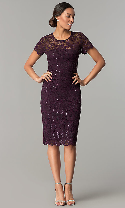 Image of short-sleeve lace knee-length wedding-guest dress. Style: JU-ON-649779 Detail Image 2