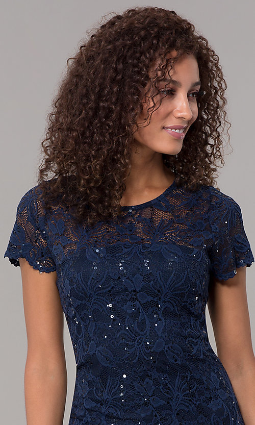 Image of short-sleeve lace knee-length wedding-guest dress. Style: JU-ON-649779 Detail Image 5