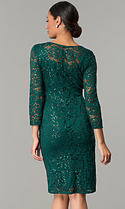 Image of hunter green sequin-lace party dress with sleeves. Style: JU-ON-649784 Back Image