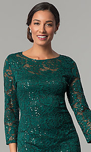 Image of hunter green sequin-lace party dress with sleeves. Style: JU-ON-649784 Detail Image 1