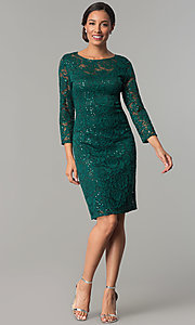 Image of hunter green sequin-lace party dress with sleeves. Style: JU-ON-649784 Detail Image 2
