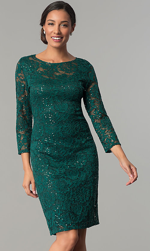 Image of hunter green sequin-lace party dress with sleeves. Style: JU-ON-649784 Front Image