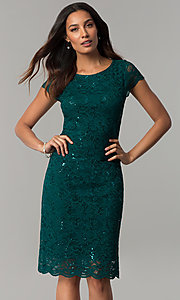 Knee-Length Hunter Green Lace Wedding-Guest Dress