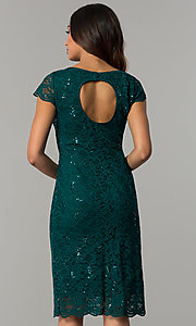 Image of knee-length hunter green lace wedding-guest dress. Style: JU-ON-649799 Back Image