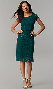 Image of knee-length hunter green lace wedding-guest dress. Style: JU-ON-649799 Detail Image 2