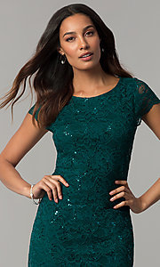 Image of knee-length hunter green lace wedding-guest dress. Style: JU-ON-649799 Detail Image 1