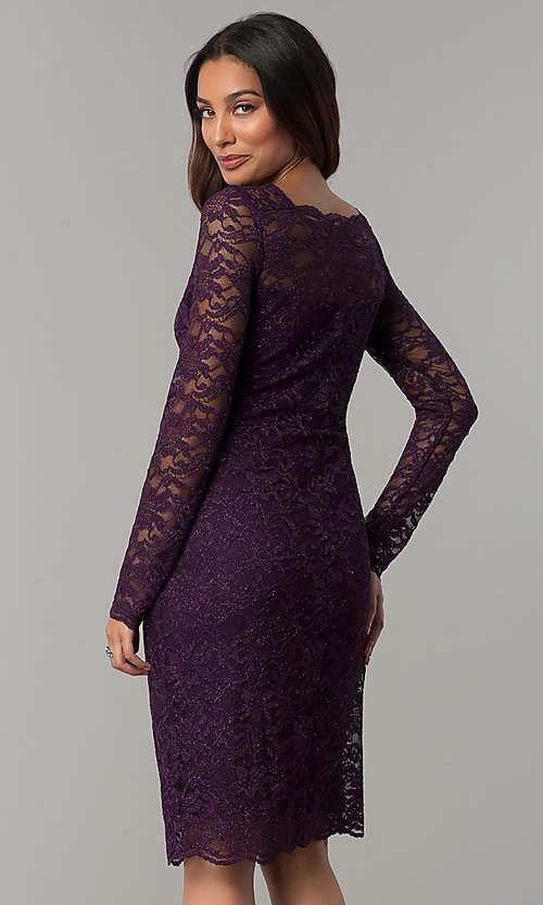 Image of long-sleeve glitter-lace short wedding-guest dress. Style: JU-ON-649829 Back Image